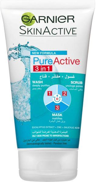منظف 3 في 1 Pure Active Wash, Scrub & Mask